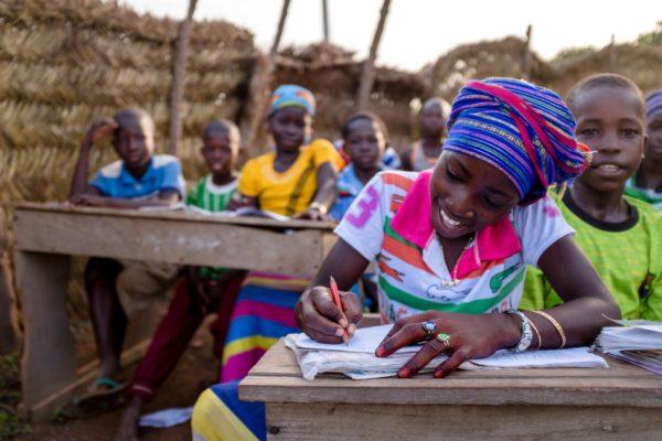 Schoolchildren enjoying a lesson in rural Ghana.