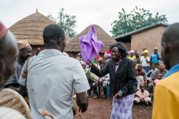 Rev. Mrs. Georgina Anaba-Nuagah, District Director, dances at the durbar