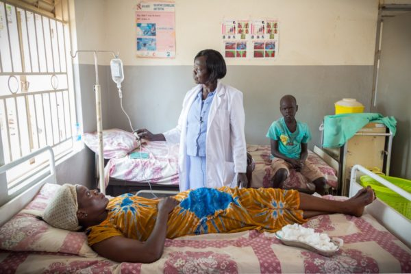 Women receives treatment in clinic in South Sudan