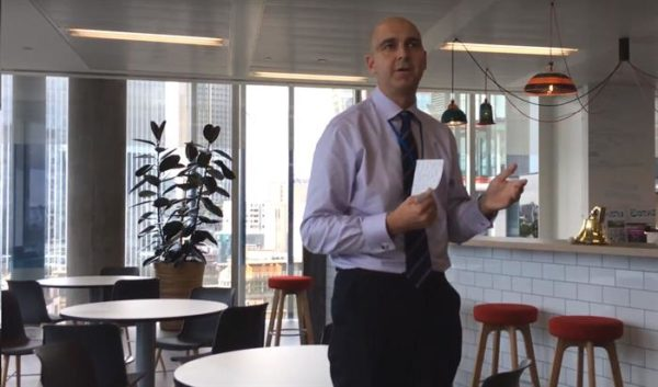 Photo of CEO Fergus Drake at our Southwark Office