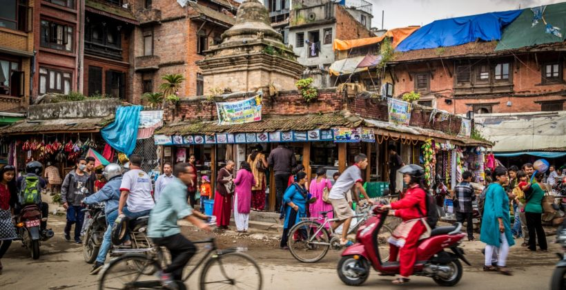 A busy street in Nepal.