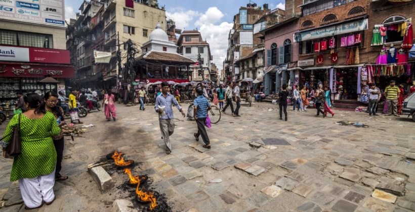 Photo of busy town in Nepal